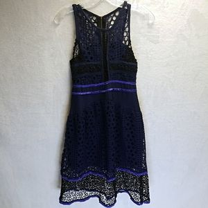 Beldus's navy blue and black crochet style dress